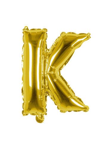 Folieballon K goud - lucht gevuld - 36 cm