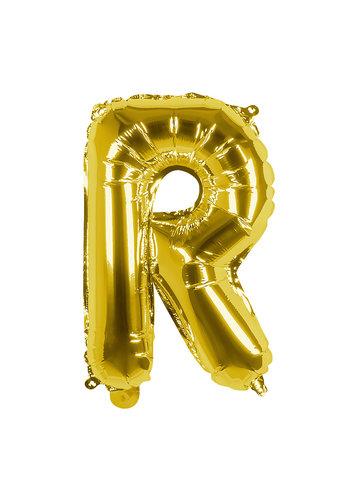 Folieballon R goud - lucht gevuld - 36 cm