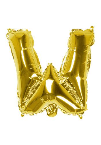 Folieballon W goud - lucht gevuld - 36 cm