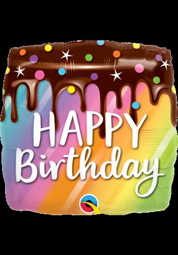 Folieballon Happy Birthday drip cake Square - 45cm