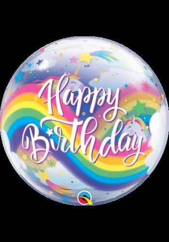 Bubble Happy Birthday Rainbow Unicorns  - 55cm