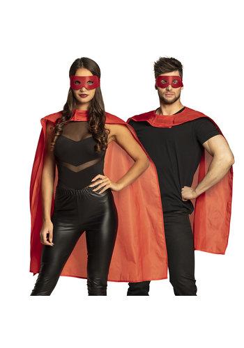 Set Hero rood - oogmasker en cape 90 cm