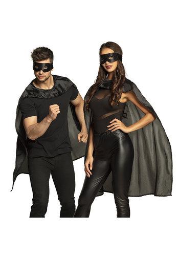 Set Hero zwart - oogmasker en cape 90 cm