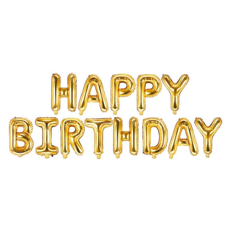 Folieballon Happy Birthday - Goud - 340x35cm-1