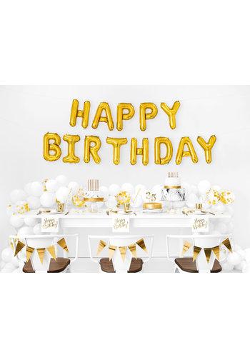 Folieballon Happy Birthday - Goud