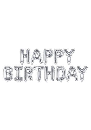 Folieballon Happy Birthday - Zilver - 340x35cm