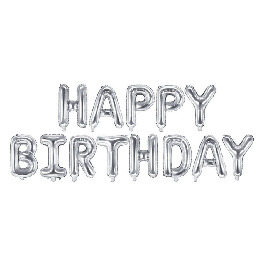 Folieballon Happy Birthday - Zilver-2