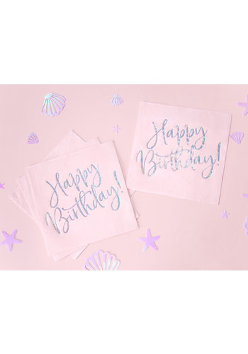 Servetten Happy Birthday poederroze - 33x33cm
