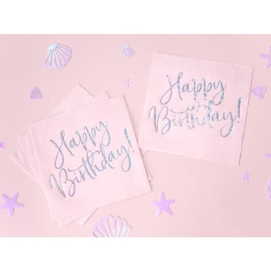 Servetten Happy Birthday Poederroze-1