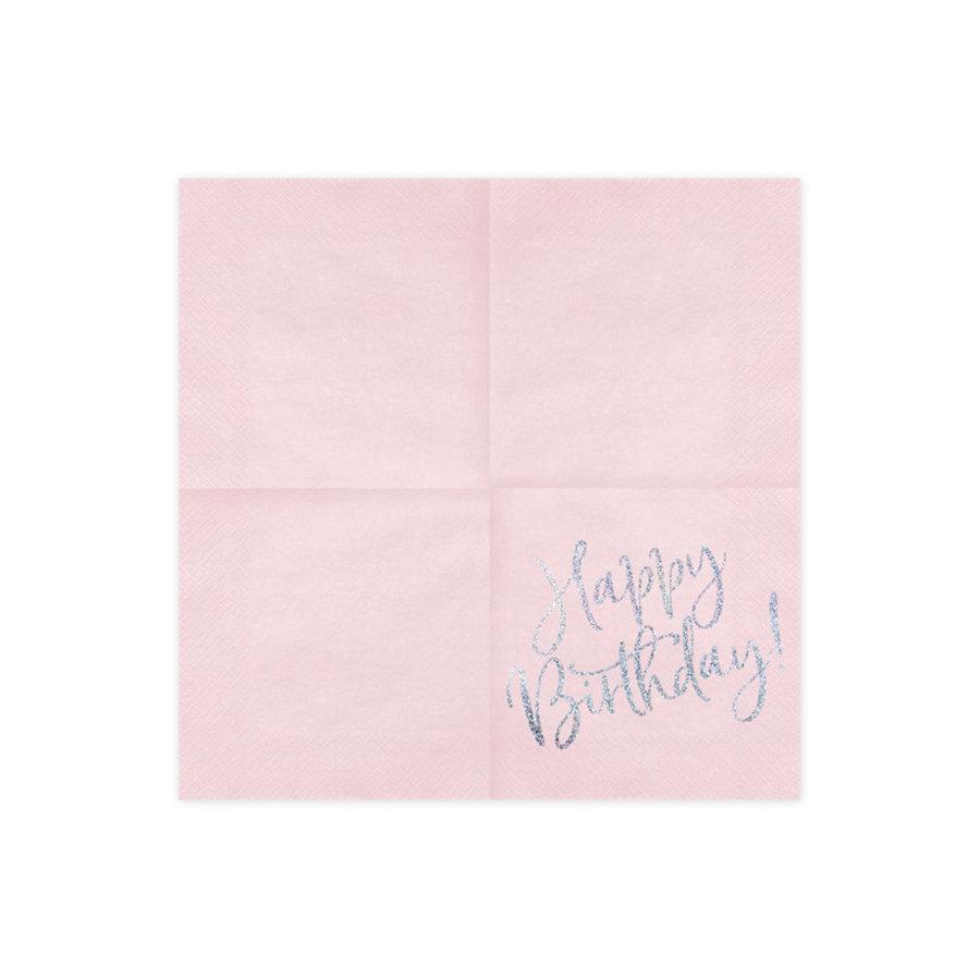 Servetten Happy Birthday Poederroze-2