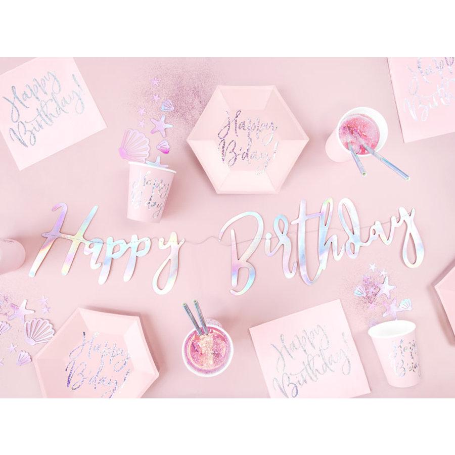 Servetten Happy Birthday Poederroze-3