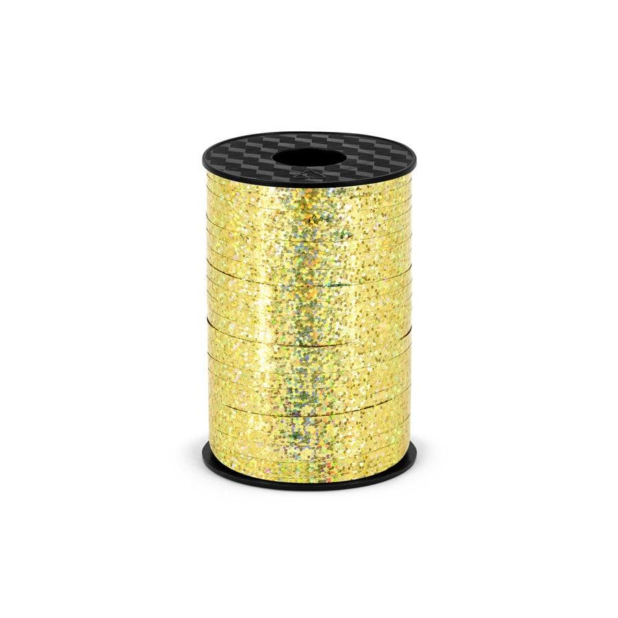 Holografisch glitter lint - goud - 5 mm / 225 m-1