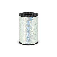 Holografisch glitter lint - zilver - 5 mm / 225 m