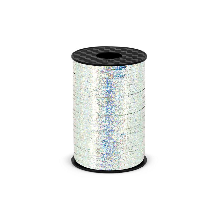Holografisch glitter lint - zilver - 5 mm / 225 m-1