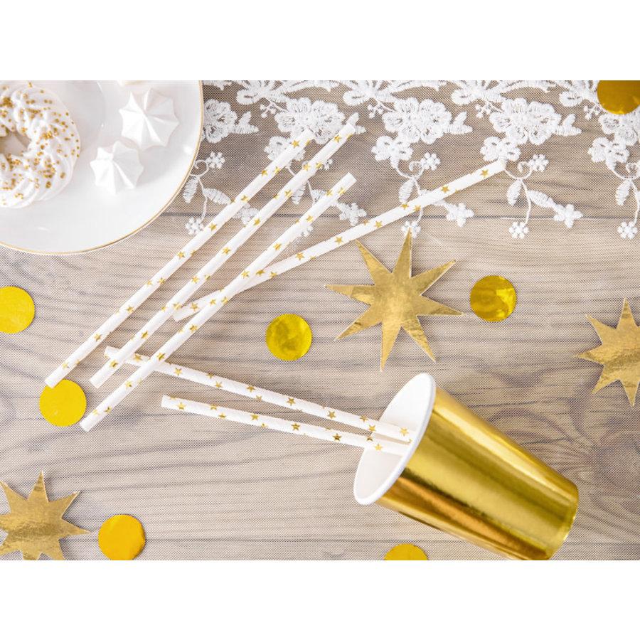 Papieren rietjes - gouden sterren - 19,5 cm-1
