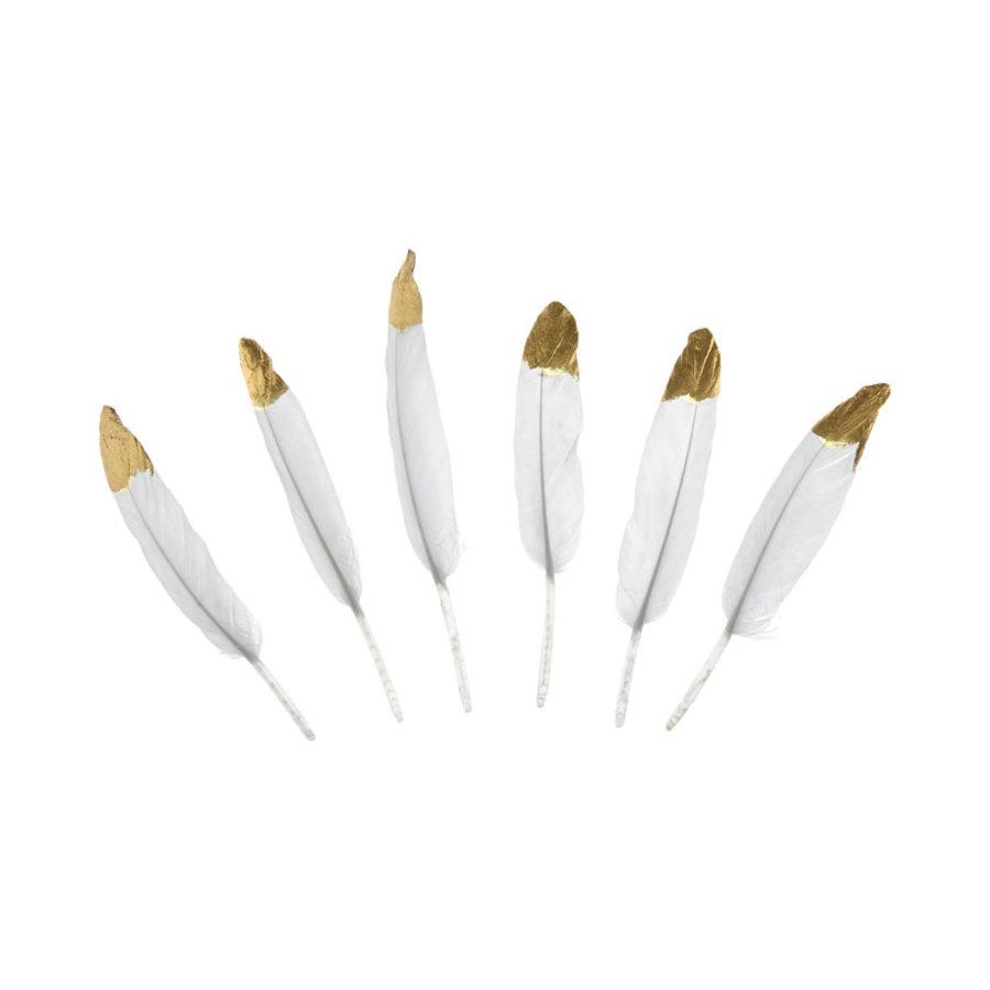 Decoratieve veren - wit & goud - 10-16cm-3