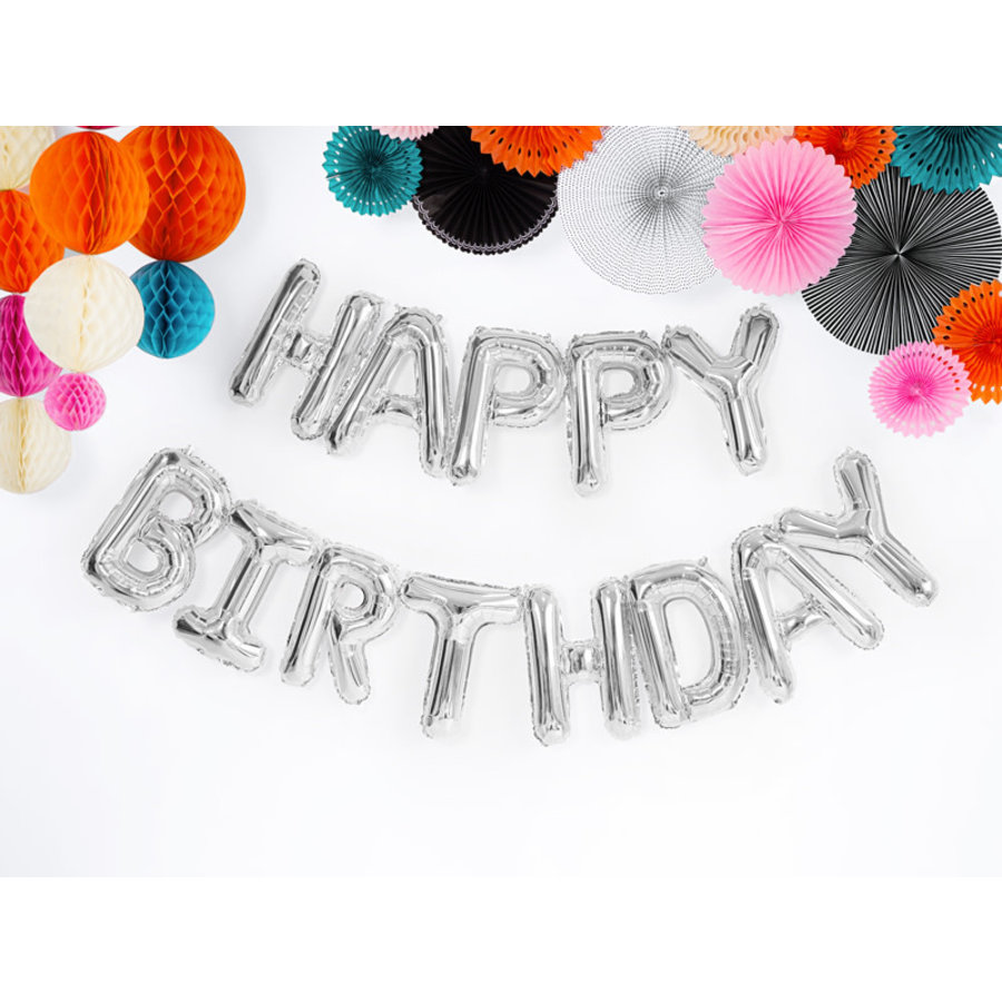 Folieballon Happy Birthday - Zilver-1