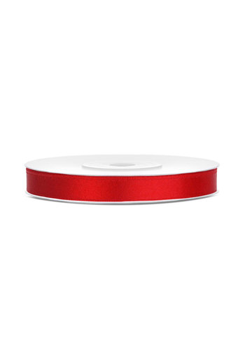 Satijn Lint Rood - 6 mm x 25 mtr