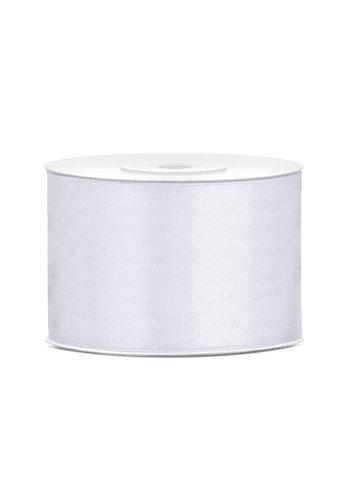 Satijnen lint - wit - 50 mm / 25 m