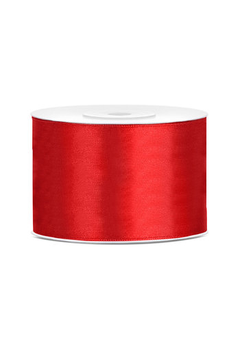 Satijnen lint - rood - 50 mm / 25 m