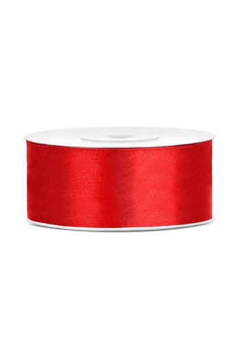 Satijnen lint - rood - 25 mm / 25 m