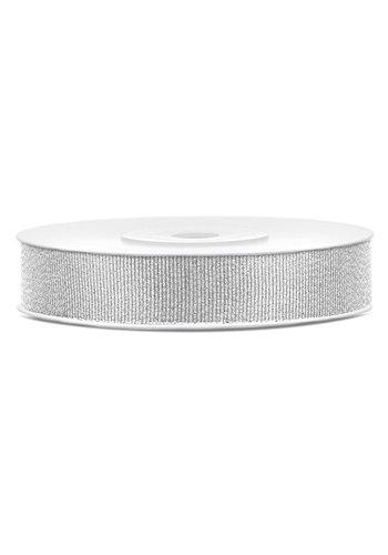 Glitter lint - zilver - 10mm/25m
