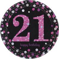 Anagram Ballonnen 21 Sparkling Celebration Pink&Black
