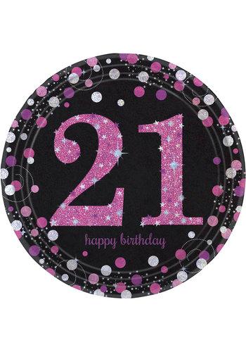 Bordjes 21 Sparkling Celebration Pink&Black - 8 st - 23cm