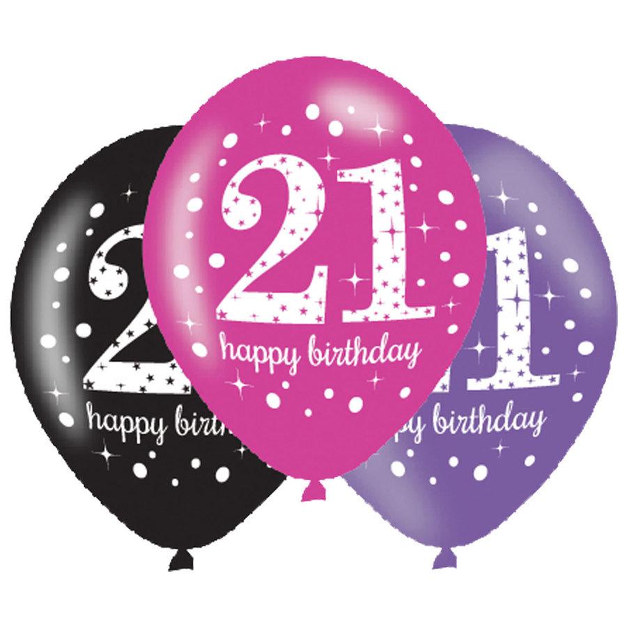 Ballonnen 21 Sparkling Celebration Pink&Black-1