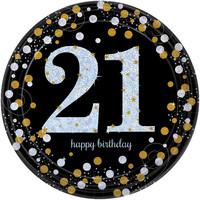 Bordjes 21 Sparkling Celebration Silver&Black - 8 st - 23cm