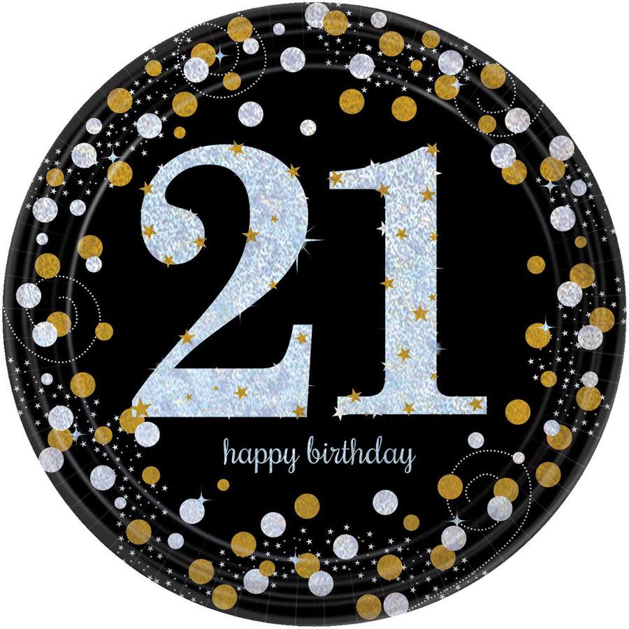 Bordjes 21 Sparkling Celebration Silver&Black - 8 st - 23cm-1