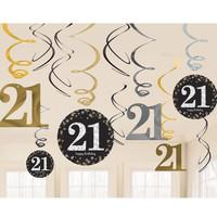 thumb-Swirl Decoration Happy Birthday 21 - 12 stuks-1