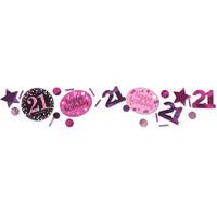 Letterbanner Happy 21th Birthday Pink&Black