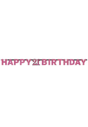 Letterbanner Happy 21th Birthday Pink&Black - 213 x 16.2 cm