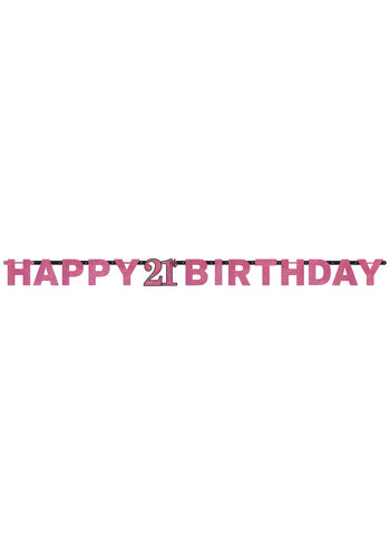Letterbanner Happy 21th Birthday Pink&Black