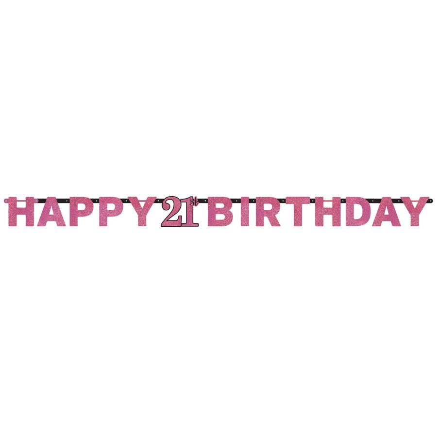 Letterbanner Happy 21th Birthday Pink&Black-1