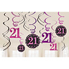 Swirl Decoration Happy Birthday 21 Pink&Black- 12 stuks