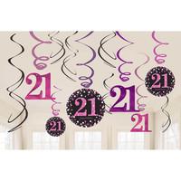 thumb-Swirl Decoration Happy Birthday 21 Pink&Black- 12 stuks-1
