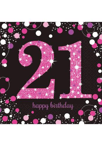 Servetten 21 Sparkling Celebration Pink&Black - 16 st - 33x33cm