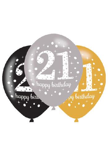 Ballonnen 21 Sparkling Celebration Silver&Black