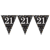 Letterbanner Happy 21th Birthday Silver & Black