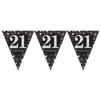 Swirl Decoration Happy Birthday 21 - 12 stuks