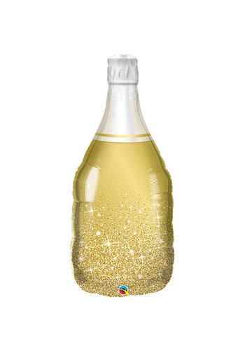 Folieballon Champagne Fles Gold Sparkles