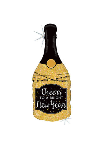 Folieballon Champagne Fles Sparkles Happy New Year