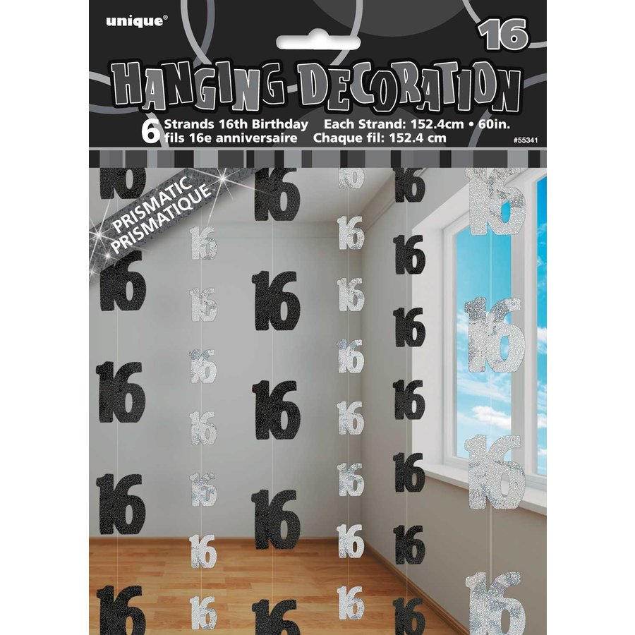 Black Glitz hangdecoratie 16 - 6 stuks-1