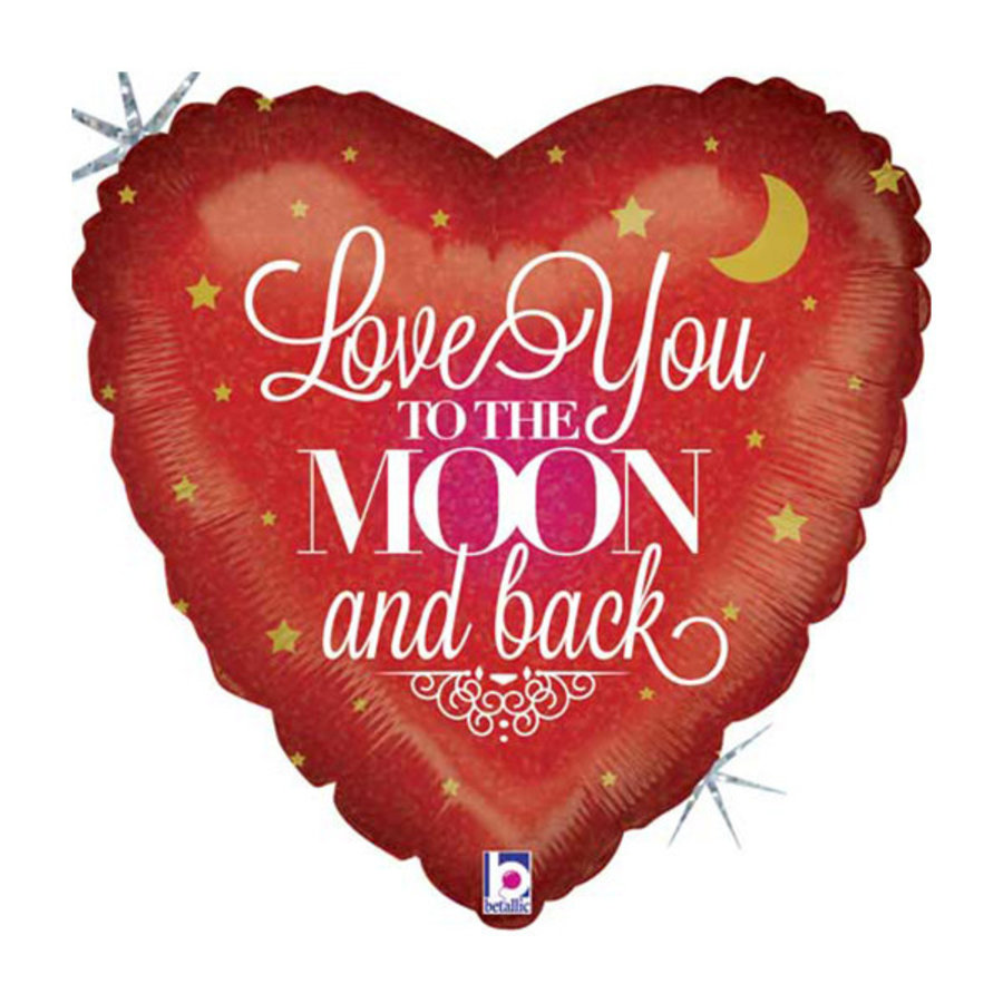 Folieballon Holographic Love You To The Moon And Back-1