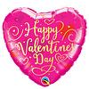 Folieballon Hart Happy Valentine's Day - 45cm