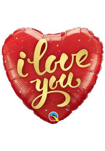 Folieballon I Love You Gold Script - 45cm