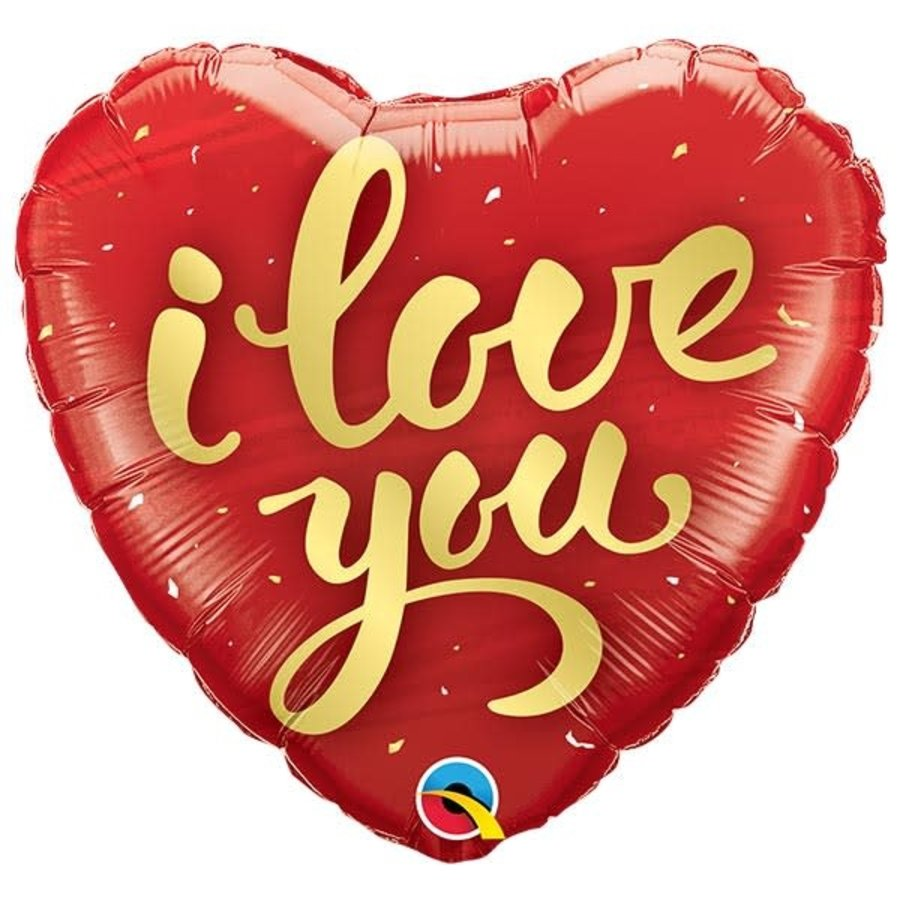 Folieballon I Love You Gold Script-1