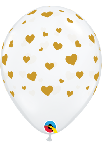 "11"" Transparant Gold Hearts 28cm"